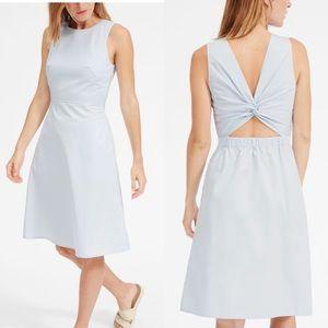 Everlane clean cotton twist back dress pale blue